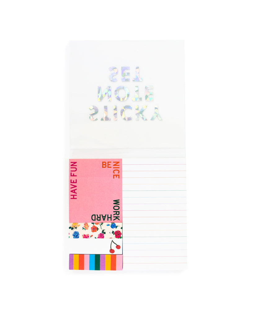 Five 100-sheet note pads to explore.