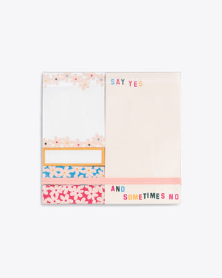 sticky note pad featuring various sized sheets and patterns