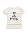 Colorful striped jersey shirt with the words joy is my priority
