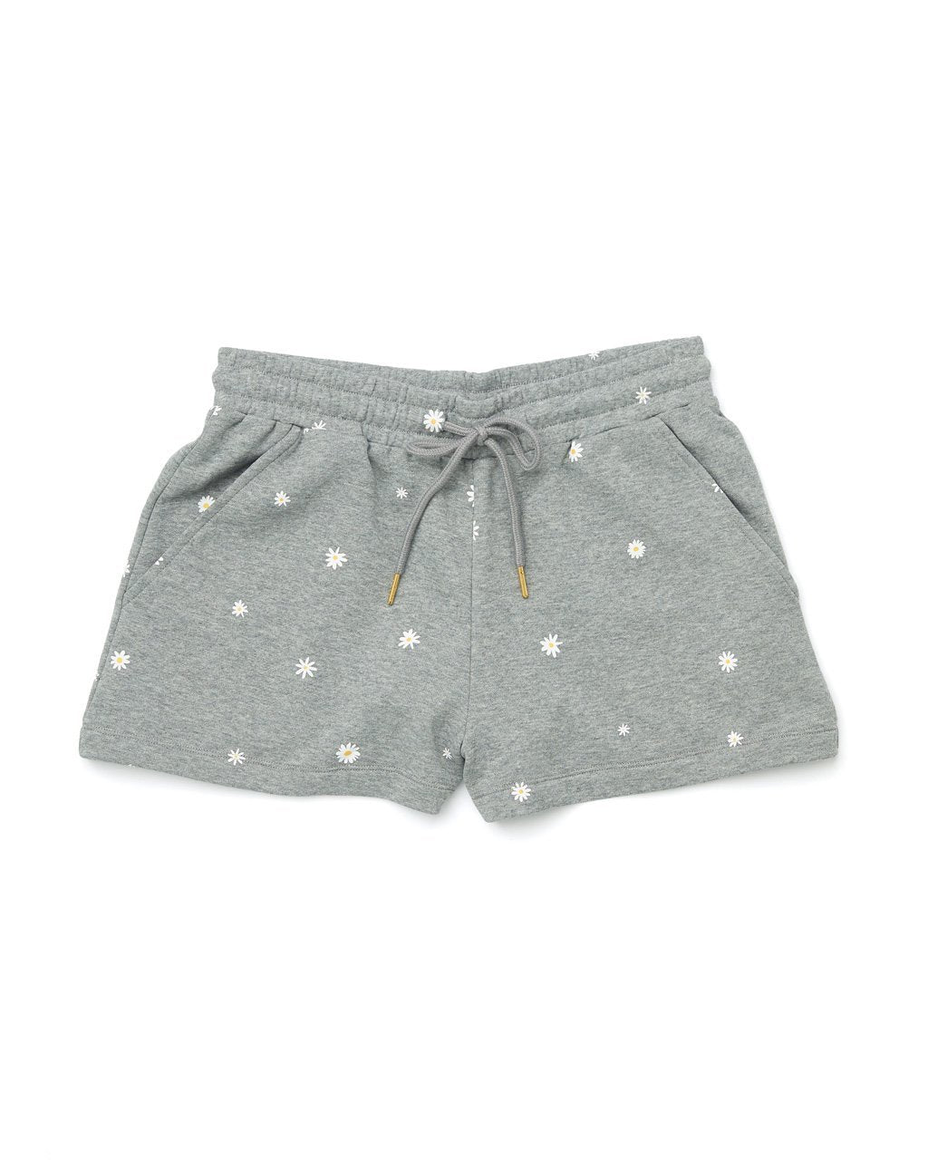 Grey cotton shorts with pockets and a scatter dot daisy pattern all over