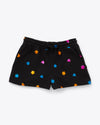 black summer camp shorts with multi colored shapes all over