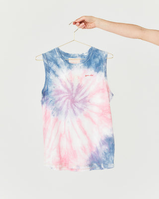 pink and blue tie dye muscle tank with ban.do on the top left corner shown on hanger