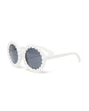 3D white daisy pattern round sunglasses