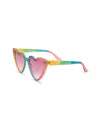 Made of glittery rainbow-colored acetate.