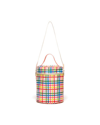 This Cooler Bag comes in a rainbow plaid pattern.