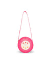 Bright pink round matte leatherette cooler bag