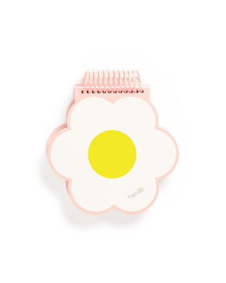 Daisy shaped notebook with yellow center, white petals, and a blush pink spiral at the top