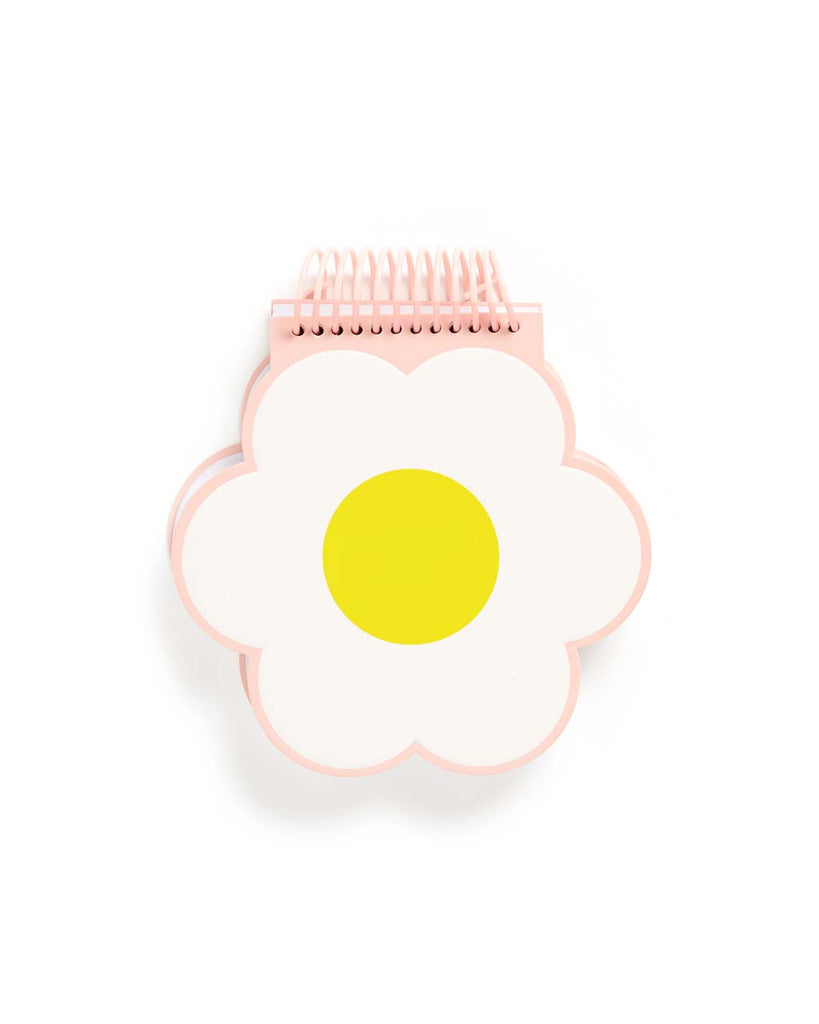 Daisy shaped notebook with yellow center, white petals, and a blush pink spiral at the top - view of back.
