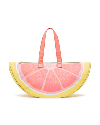 This Cooler Bag comes in the shape and color of a big slice of grapefruit.