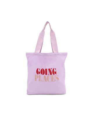 This lightweight canvas tote comes in lilac, with 'Going Places' printed in red and peach on the front.
