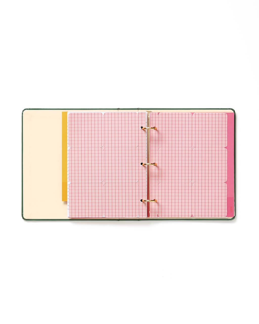 Light pink perforated pages with bright pink gridlines