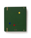 Back view of dark green planner with scattered multi-colored confetti dots
