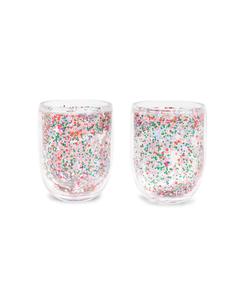 These Glitter Bomb Tumblers are clear with colorful glitter floating inside.
