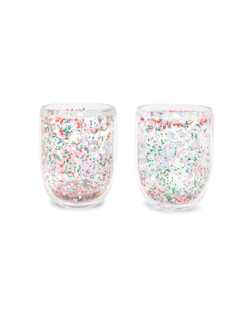 Double-walled design features sparkly metallic glitter inside.
