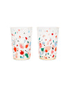 These Party On Cocktail Tumblers are clear, with colorful confetti shapes printed on the outside.
