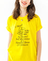 "This tee comes in yellow with a black graphic that reads ""I read a self-help book & all I got was increased self-awareness & a renewed sense of optimism"" printed on the front."