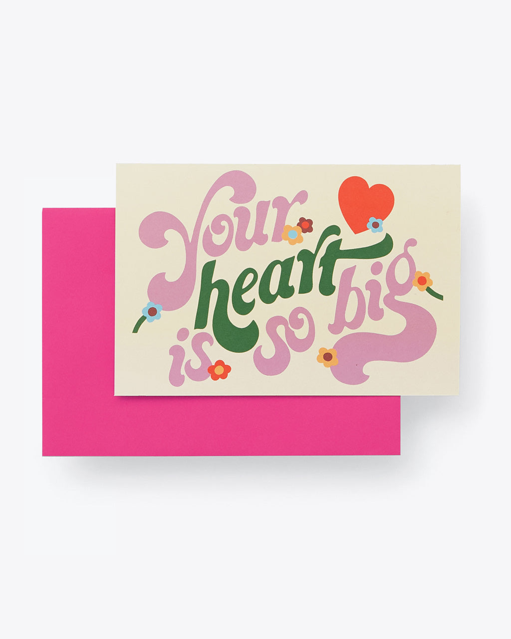 "cream colored folded card with lilac and green word graphic ""Your heart is so big""with pink envelope"