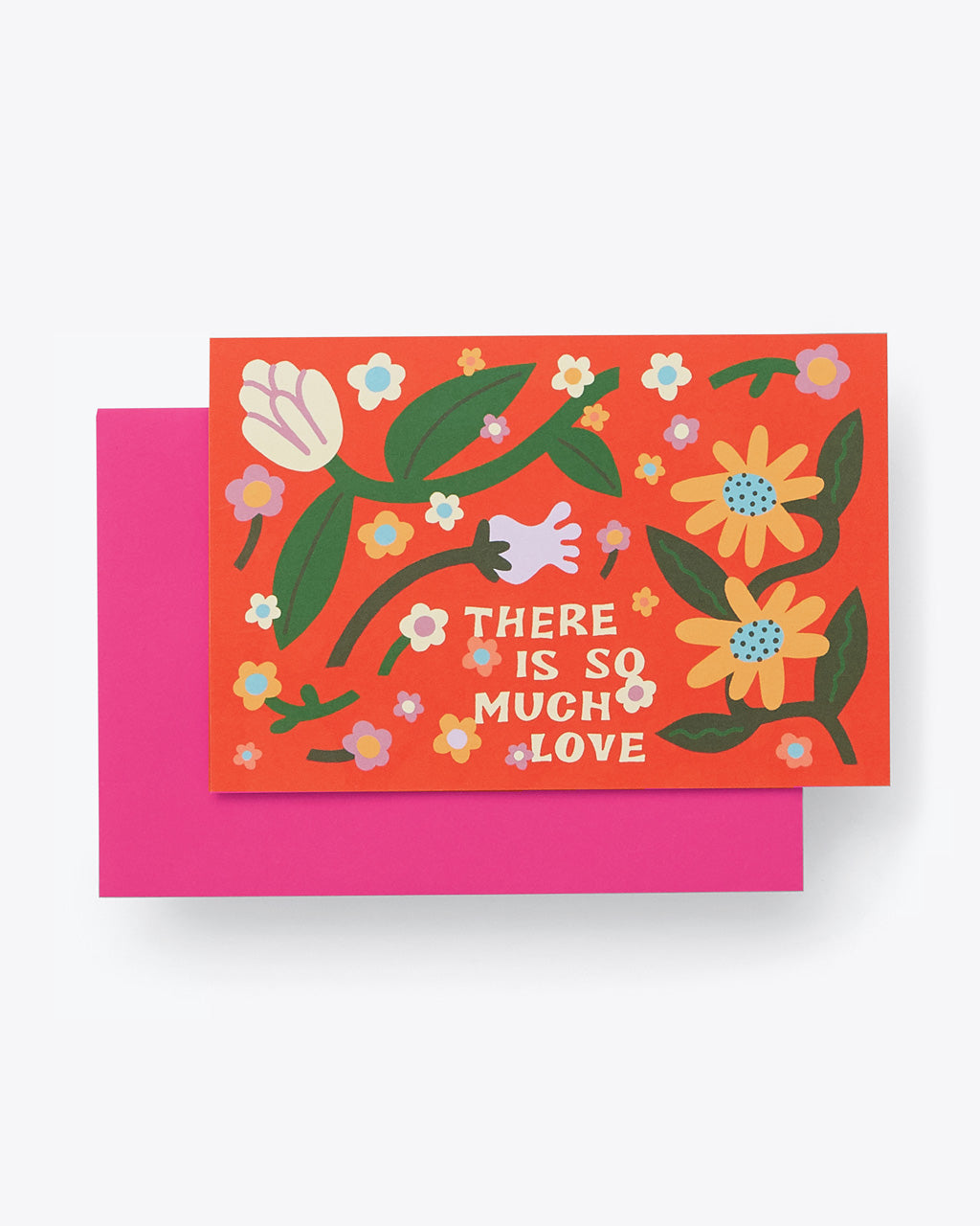 "red folded card with multi color floral pattern and word graphic that reads ""There is so much love"" with pink envelope"