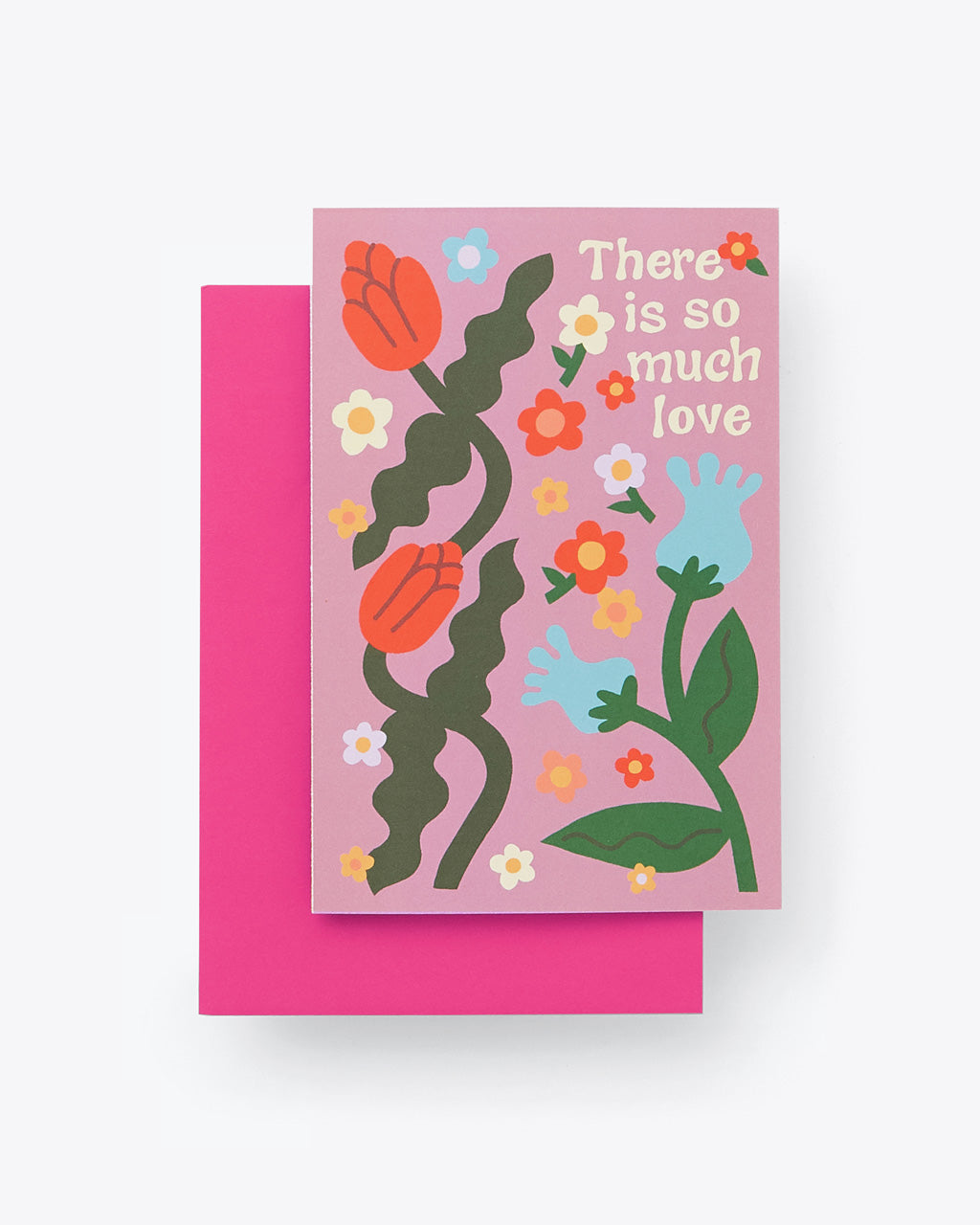 "lilac folded card with multi color floral design and word graphic reading ""There is so much love"" with pink envelope"