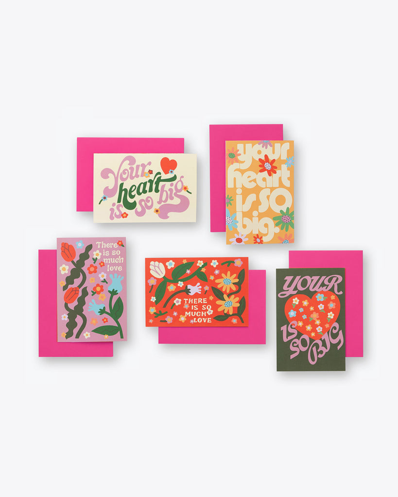 valentine card set of 5
