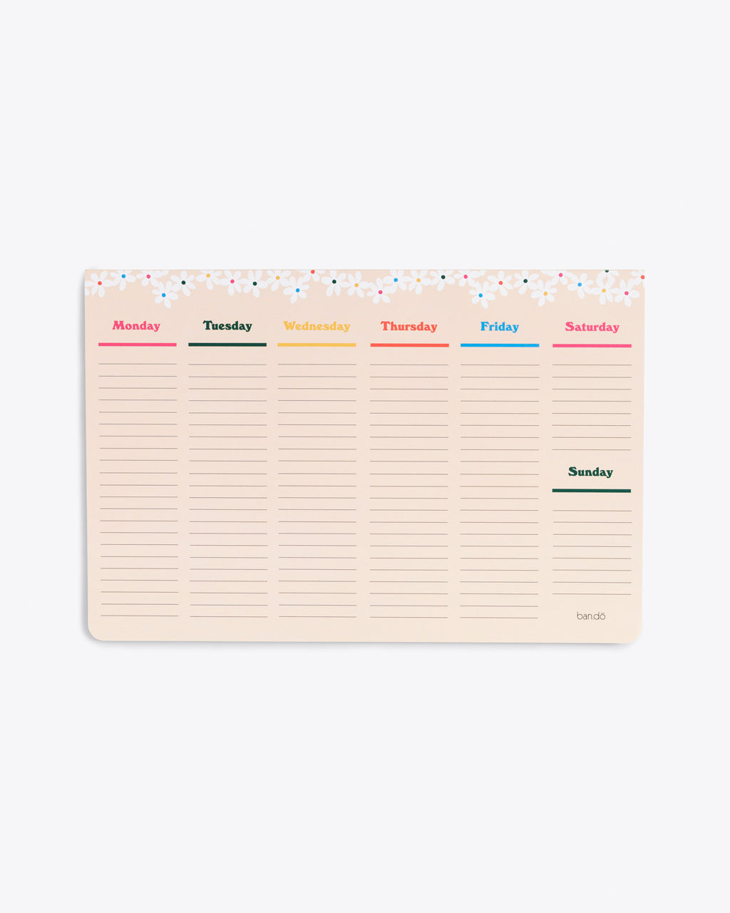 large week to week desk notepad with a daisy trim at the top, a section for every day of the week