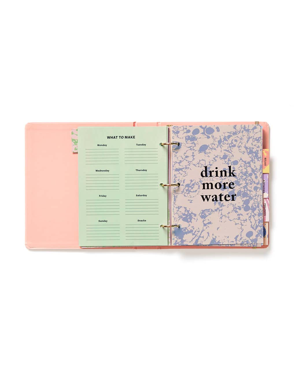 "Pages for daily planning with opener that says ""drink more water"""
