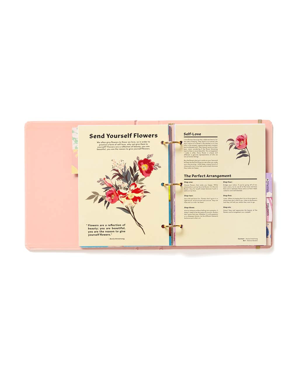 Interior view of planner with information about flower arrangements