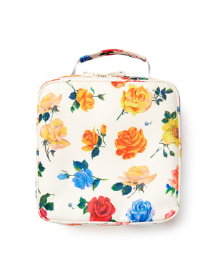 square lunch bag with hand painted roses on an ivory background