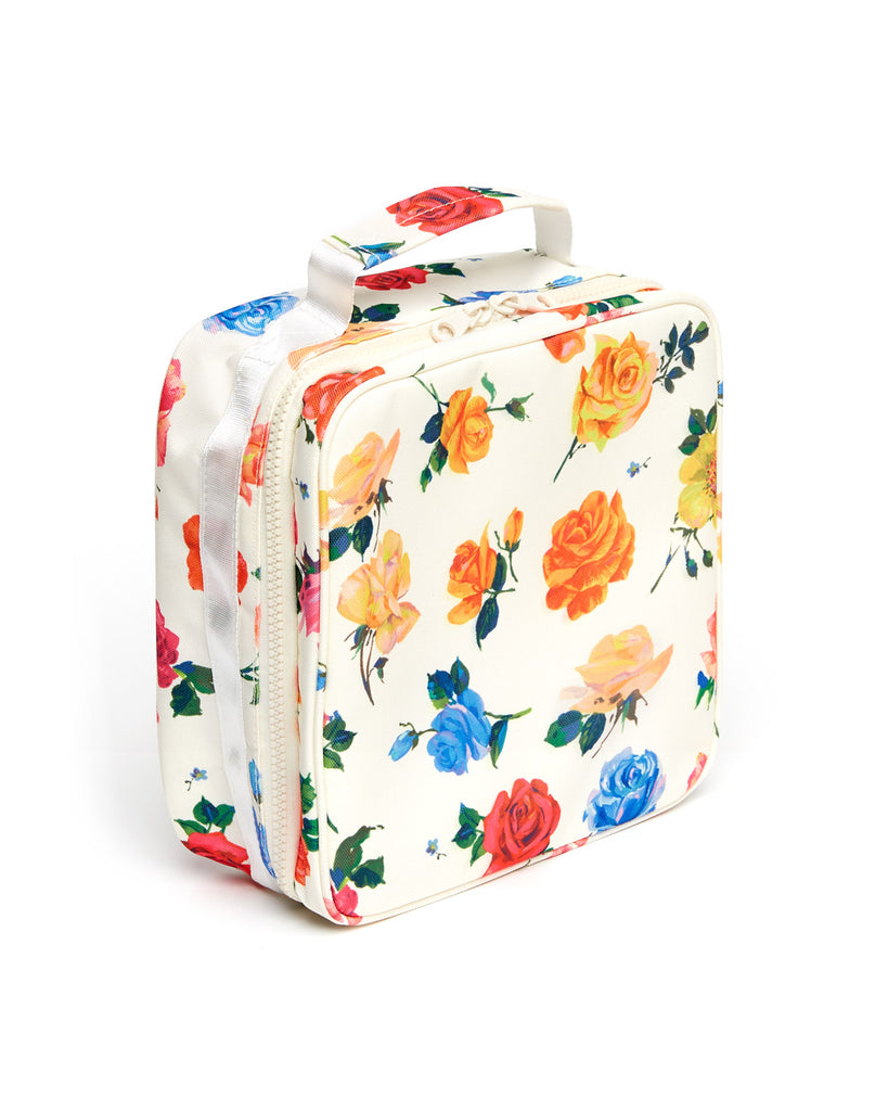 side view showing zipper on the floral lunch box