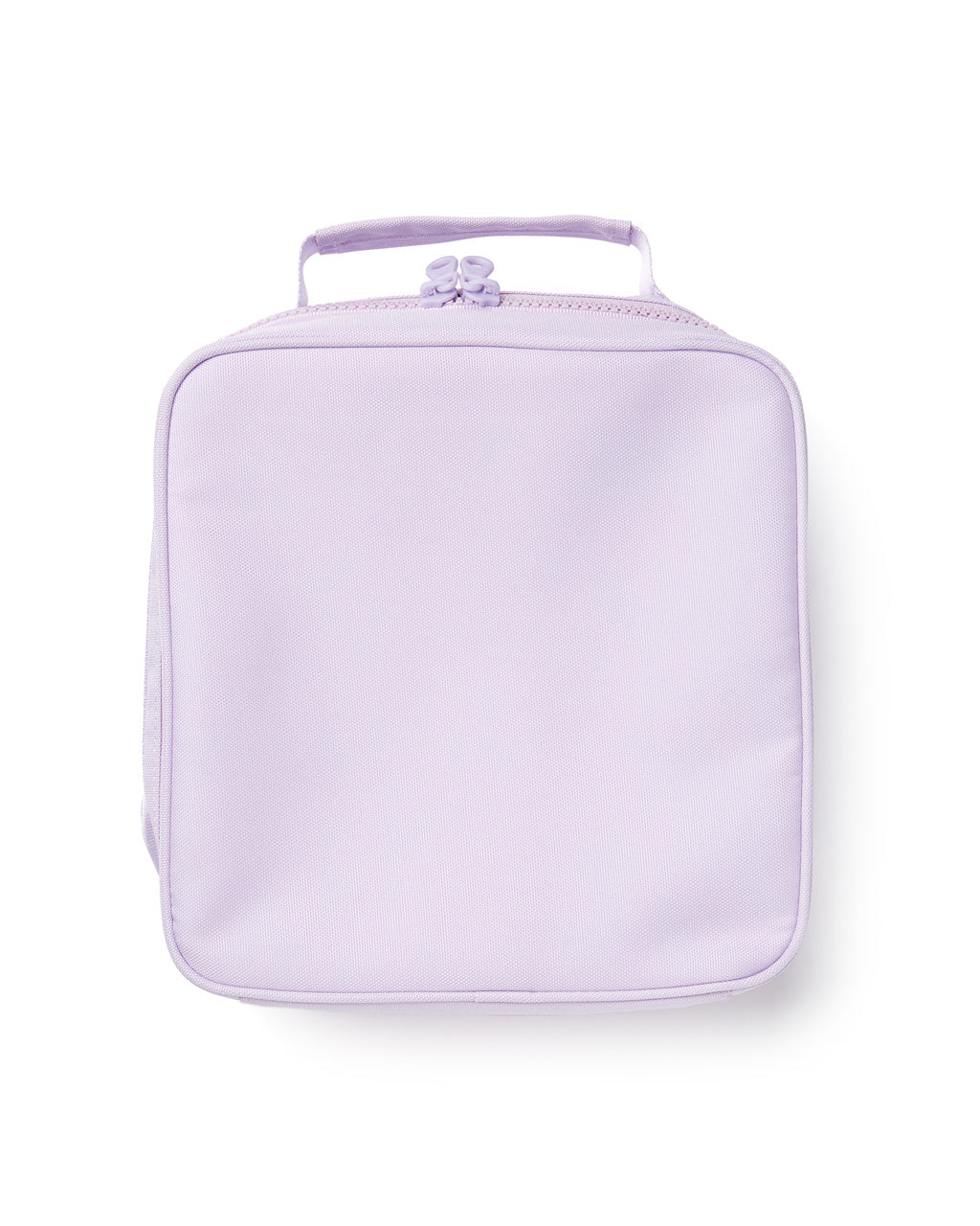 lilac square shaped lunch bag with zipper