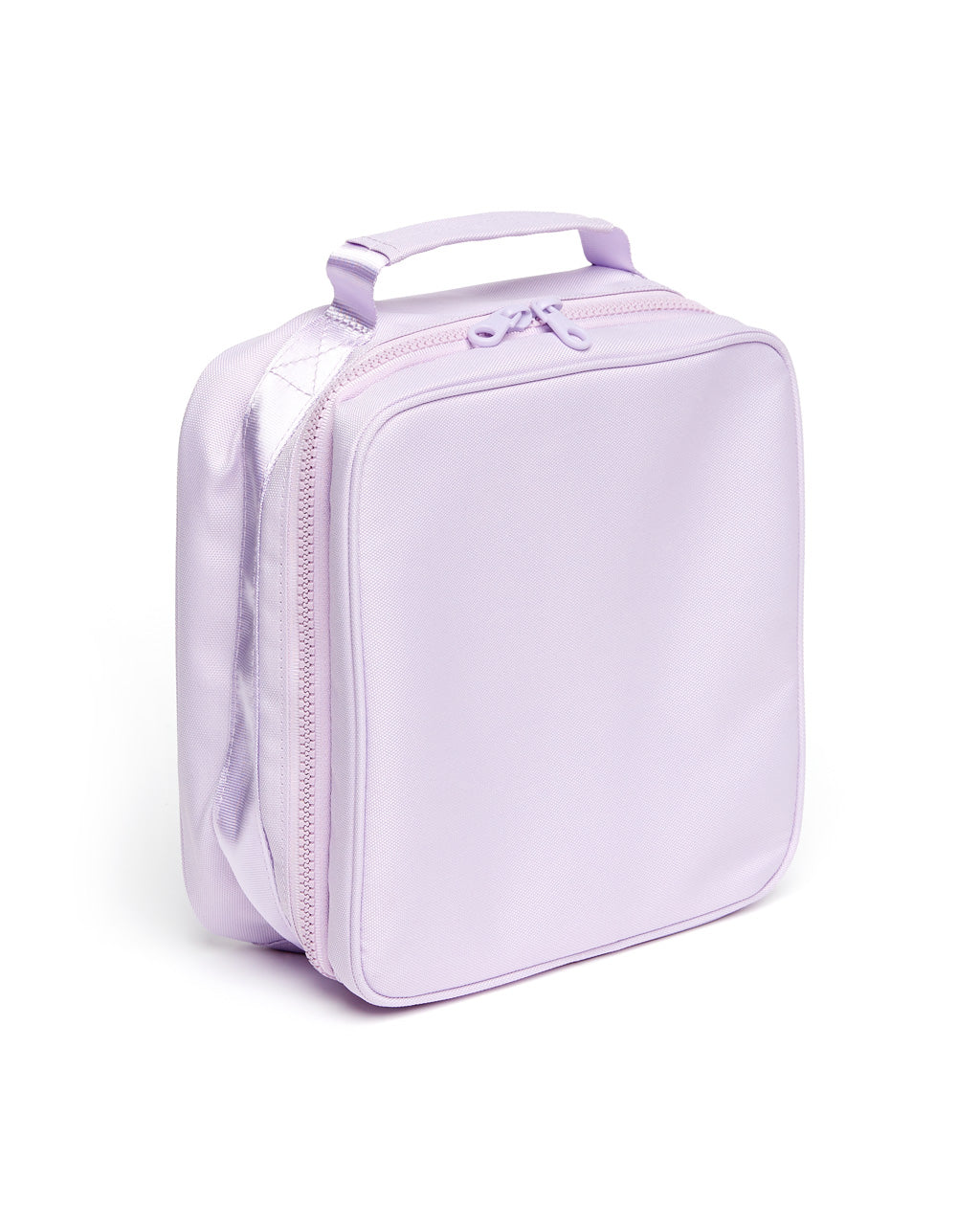 side view of the zipper around the lilac lunch bag
