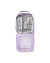 open lilac lunch bag with metallic lining