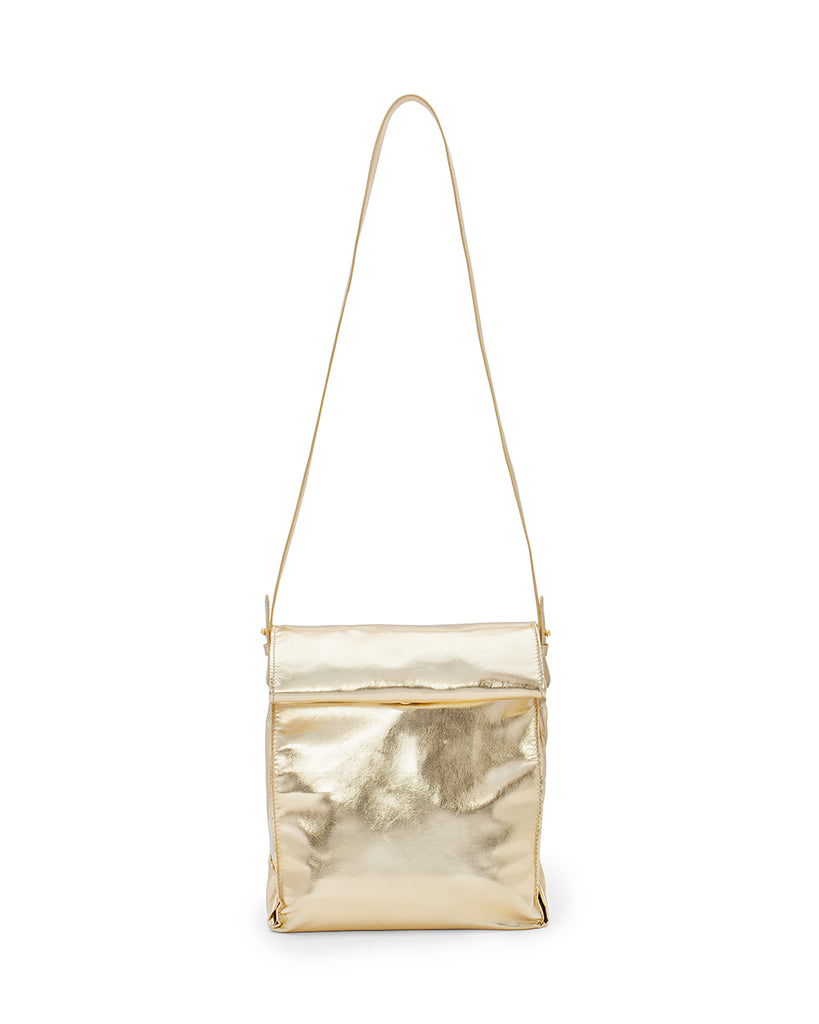 Gront view of gold lunch bag with long strap