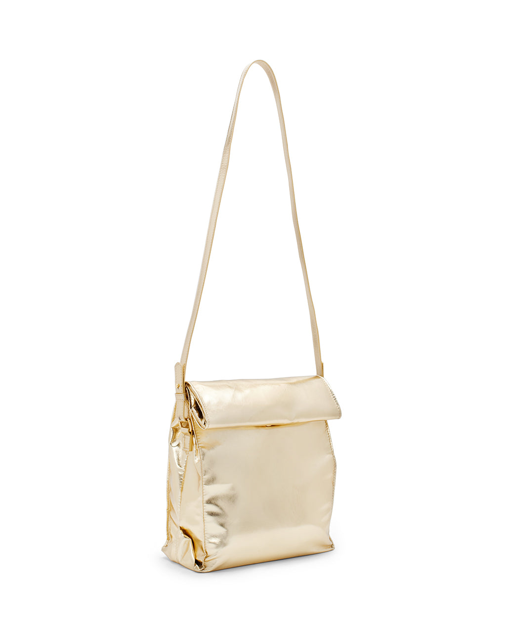 Gold lunch bag with long strap