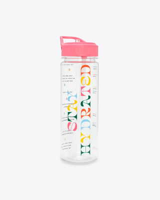 water bottle with the words stay hydrated and motivational markers
