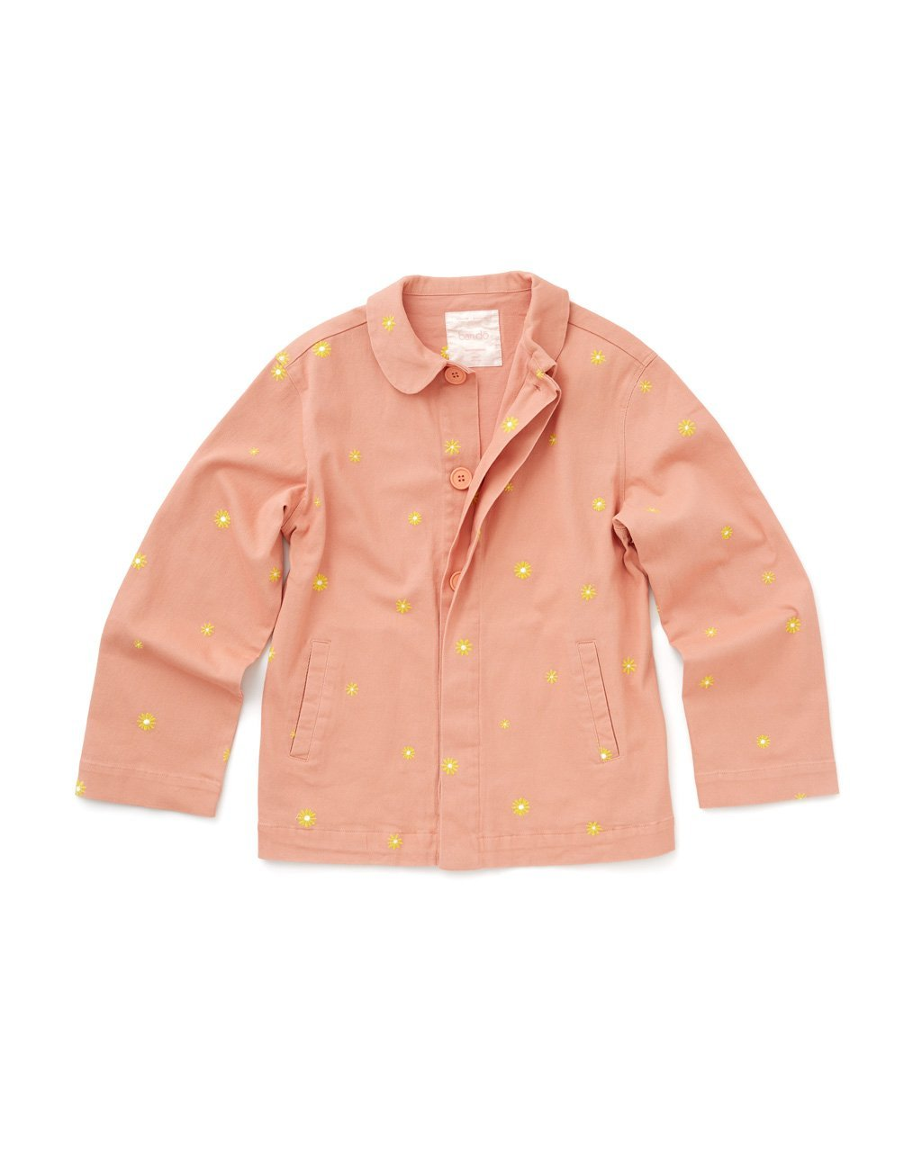 salmon colored work jacket with yellow daisy pattern all over