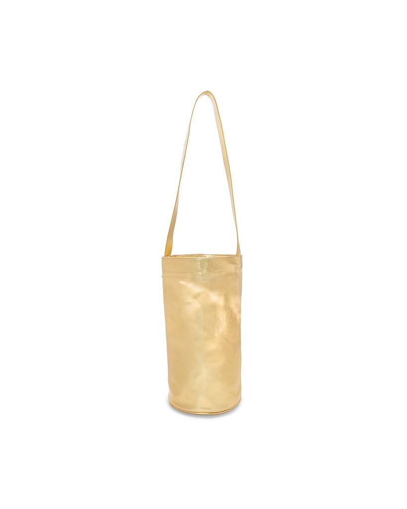 back view of metallic gold yoga mat bag with handle