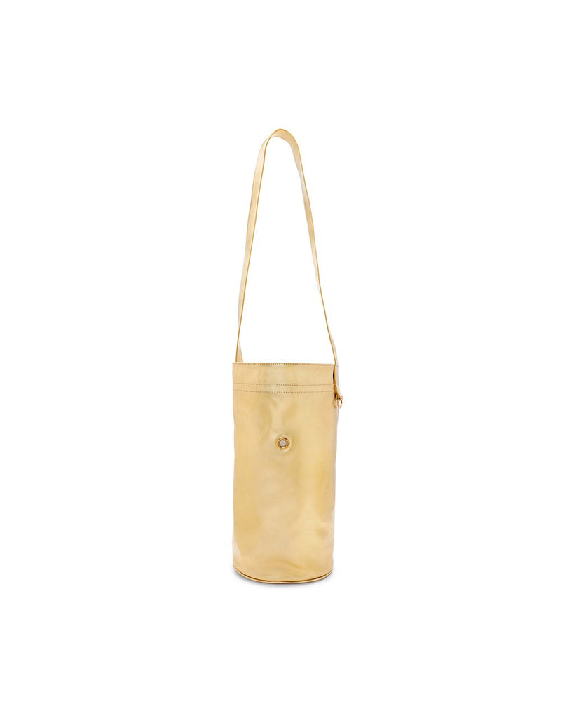 metallic gold bag for holding a yoga mat, with a long handle