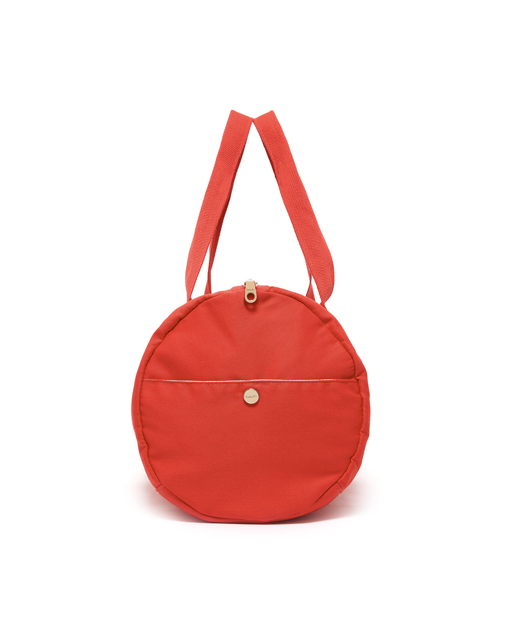 Side view of red duffle bag