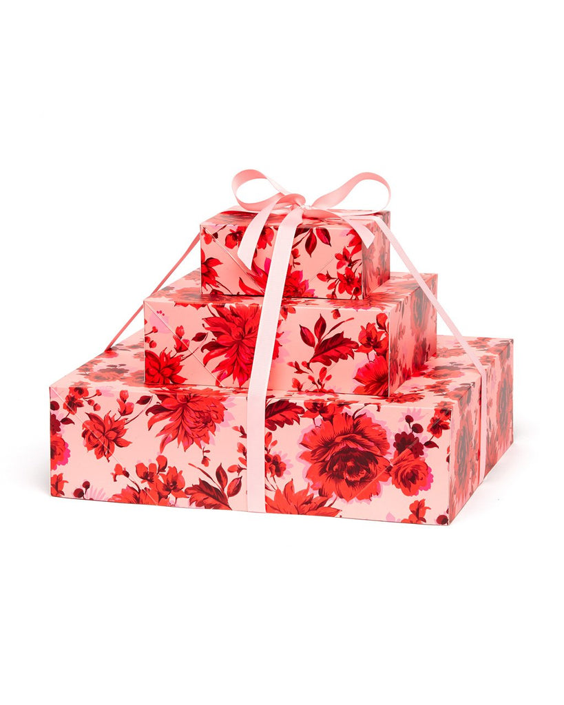 Hot pink floral pattern gift box set.