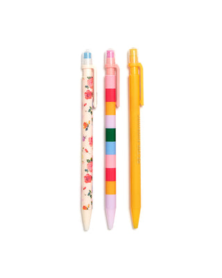 This mechanical pencil set comes in assorted colorful designs.