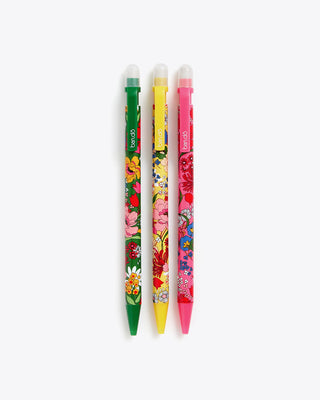set of 3 mechanical pencils, each featuring a different colored floral pattern
