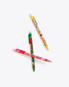 one green floral pattern, one yellow floral pattern, and one pink floral pattern mechanical pencils