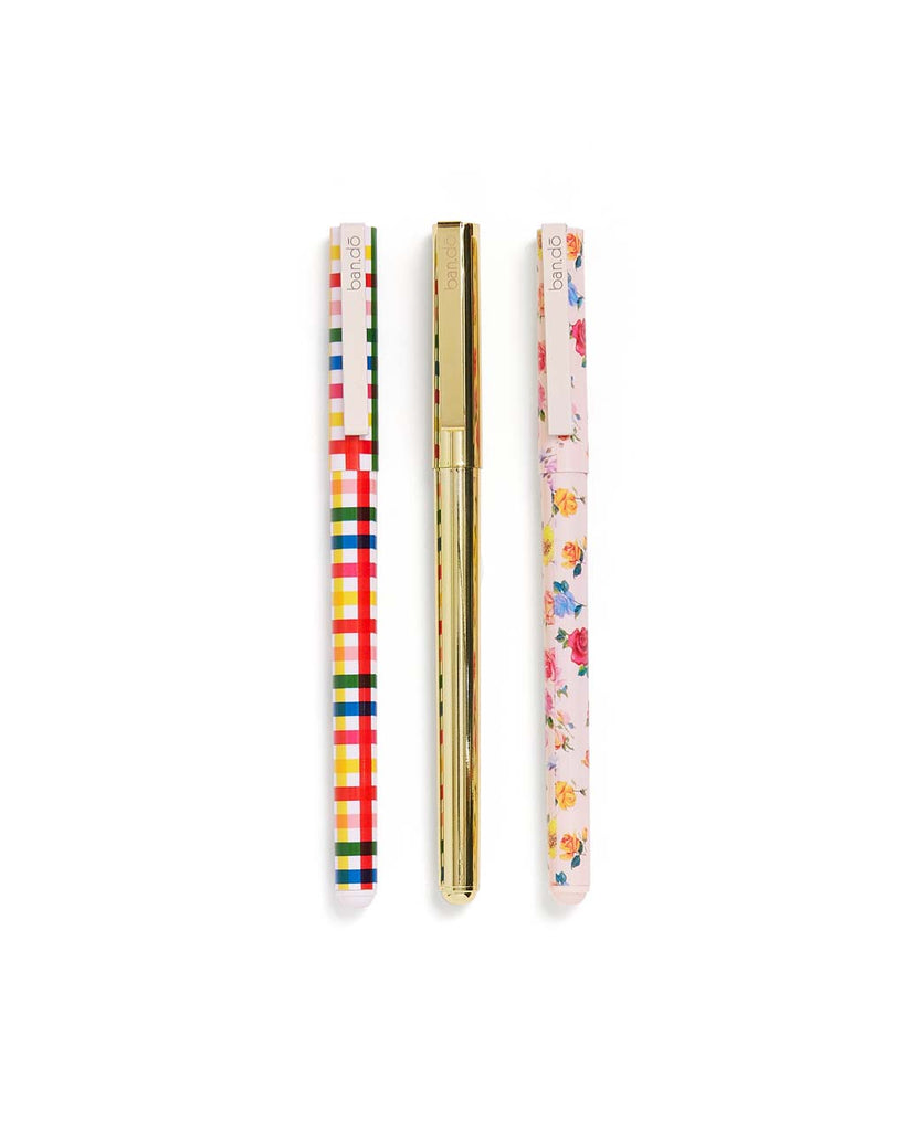 This pen set comes in assorted colorful designs by Helen Dealtry.