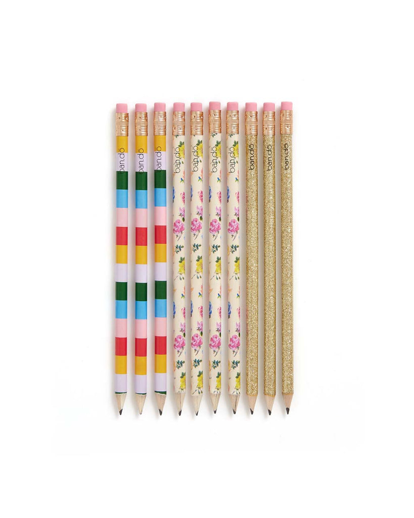 This pencil set comes in assorted colorful designs by Helen Dealtry.
