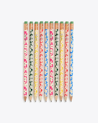 set of 10 wooden pencils featuring various colored daisy patterns