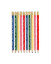 Set of 10 wooden multi colored pencils