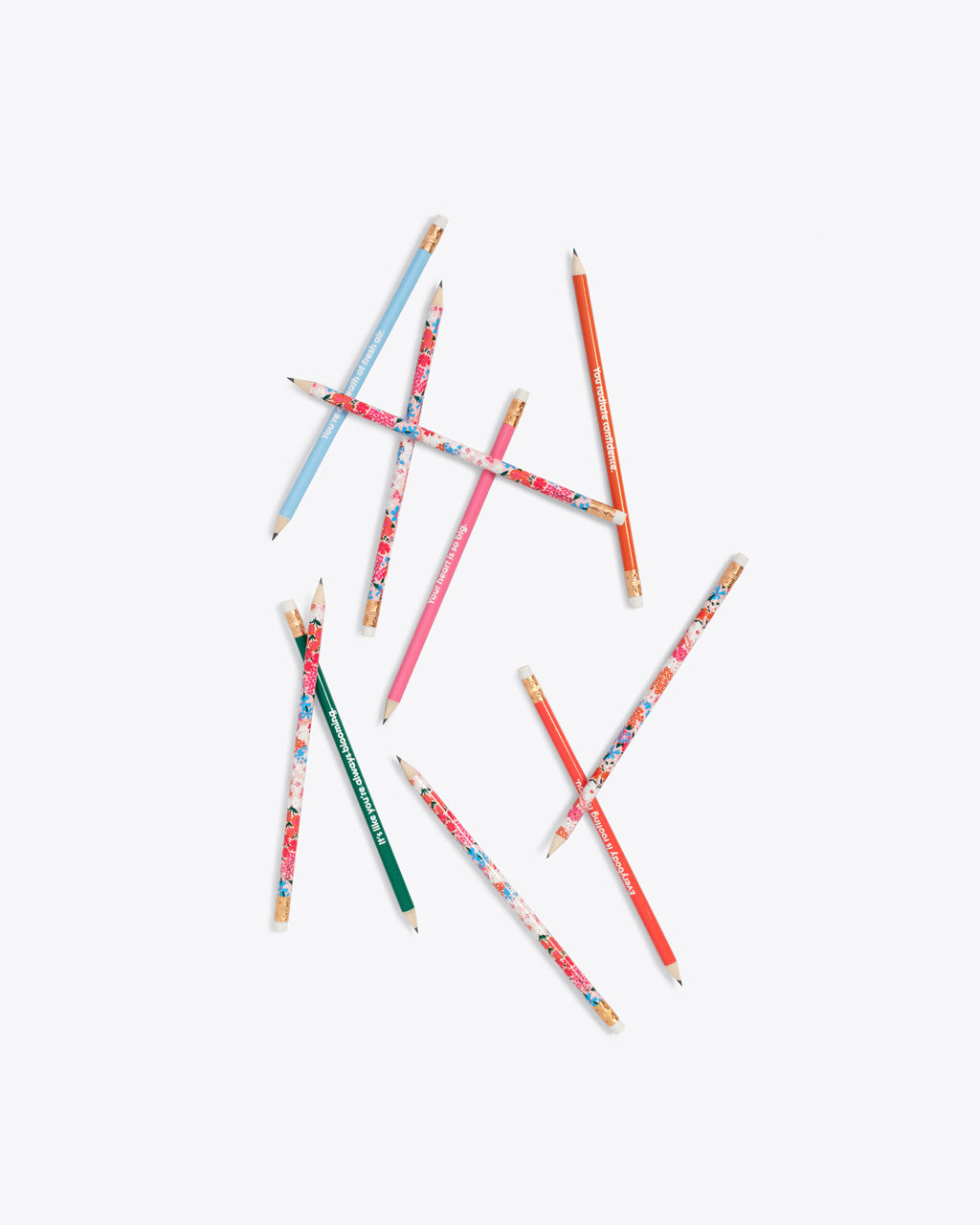 set of 10 pencils scattered