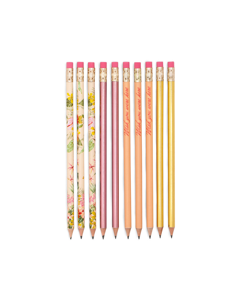 This pencil set comes in assorted colorful designs by Helen Dealtry and Katy Jones.