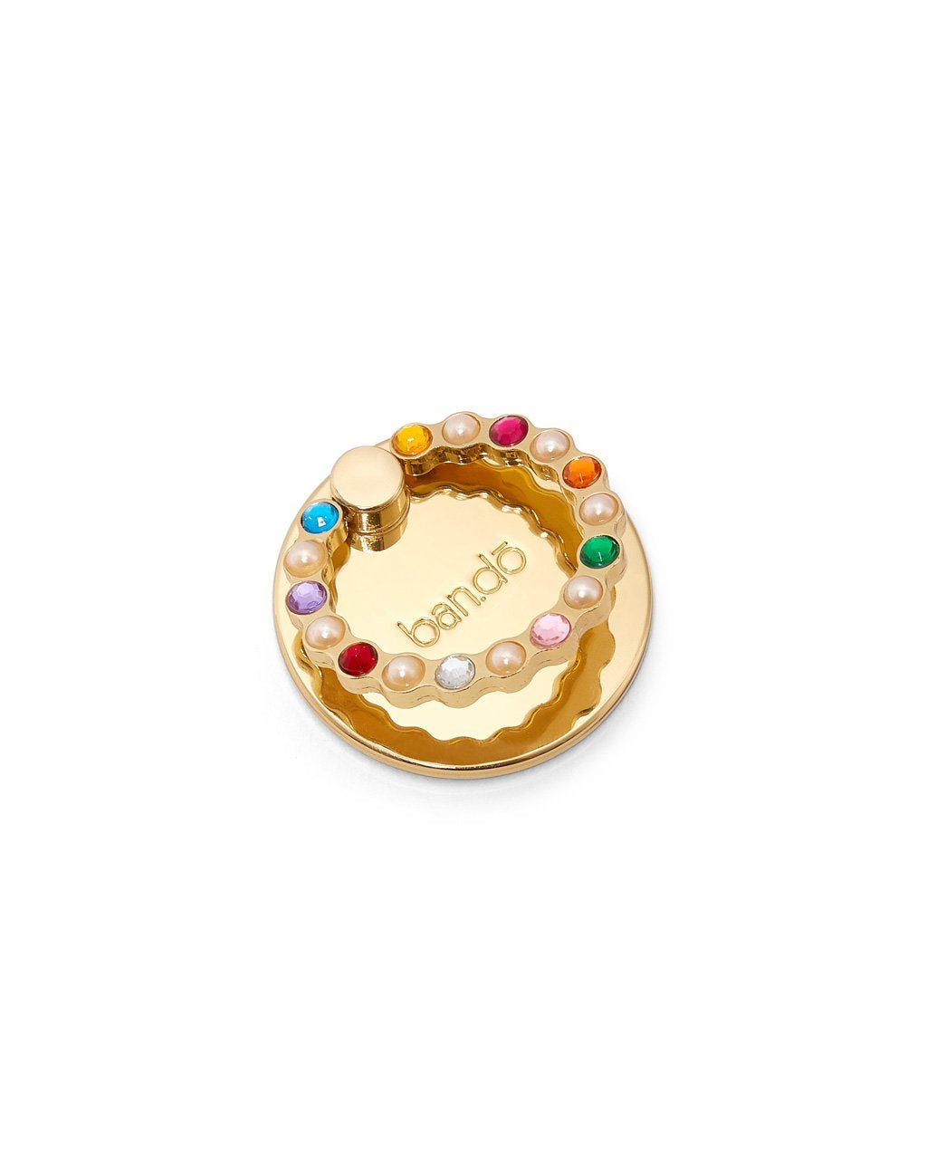 Tech ring with gems and pearls attached to the ring